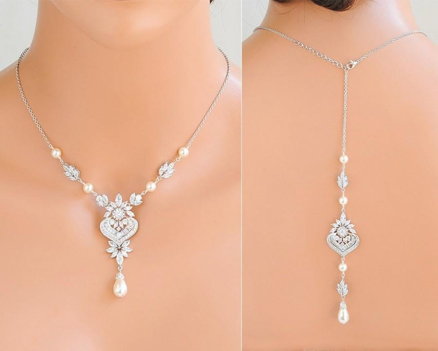 Hochzeit - Back Drop Necklace, Backdrop Bridal Necklace, Swarovski Pearl Wedding Necklace, Back Necklace, Flower Leaf Necklace, Bridal Jewelry, EZMAE