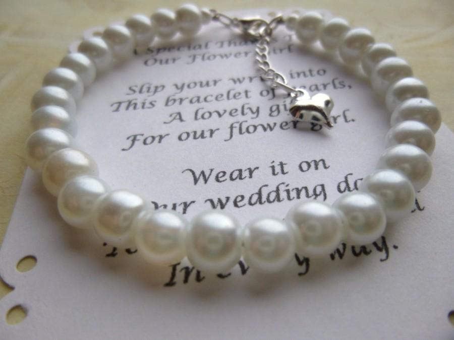 Свадьба - Pearl Flower Girl Bracelet, Pearl Bracelet, Childs Pearl Bracelet, Flower Girl Gift, Communion Bracelet, Girls Pearl Bracelet, Bracelet Gift