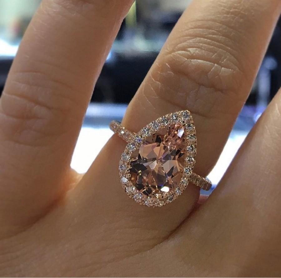 Wedding - 14K Rose Gold Natural Morganite and Diamond Halo Ring Pear Shape Art Deco Antique Engagement Ring Birthstone Ring Promise Ring White Gold