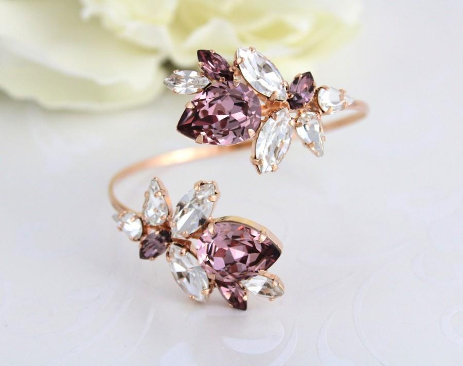 Wedding - Rose gold bracelet, Bridal bracelet, Bridal jewelry, Cuff bracelet, Blush crystal bracelet, Swarovski bracelet, Statement Wedding bracelet