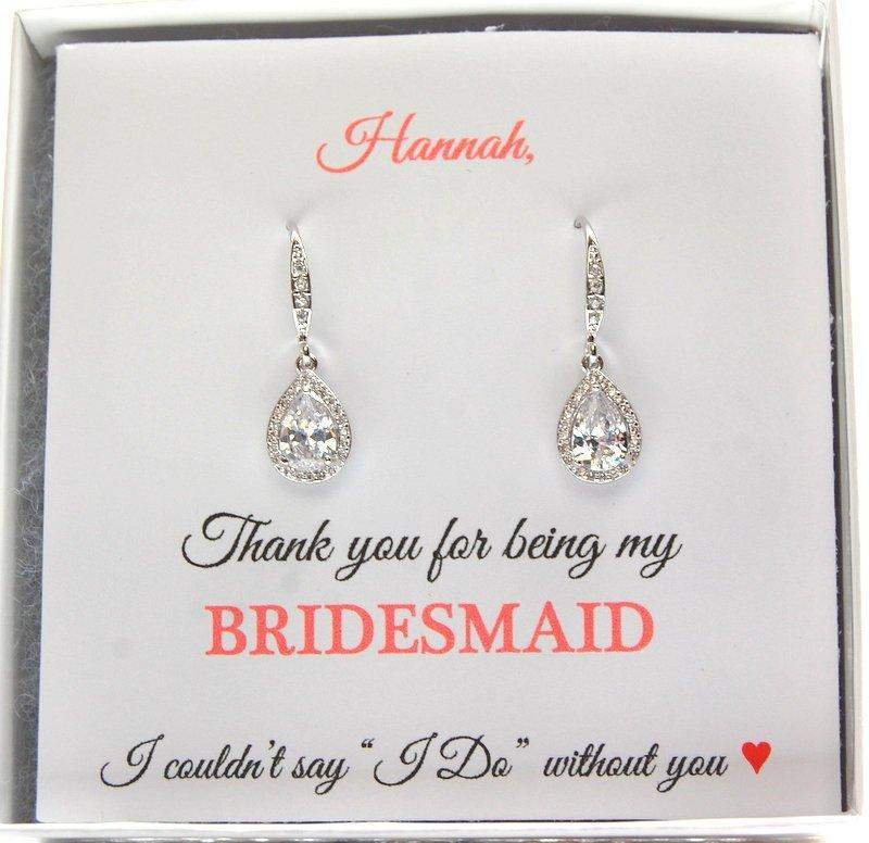 Wedding - Bridesmaids Earrings, Silver Drop Earrings, Bridesmaid Gifts, Dangle CZ Earrings, Bridal Earrings, Bridal Silver Earrings