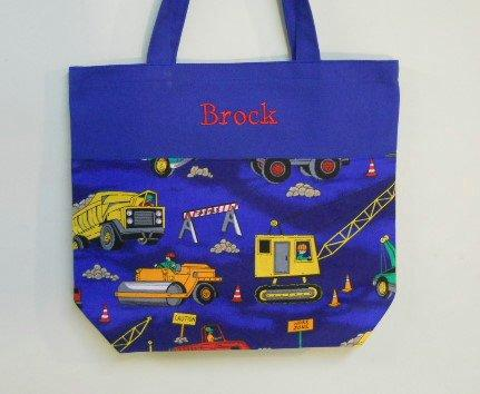 Wedding - Boy's Tote bag, Personalized Tote bag, crayon tote Embroidered Tote bag, Toy Bag, Blue bag, Overnight bag, Construction Trucks Bag BTB5