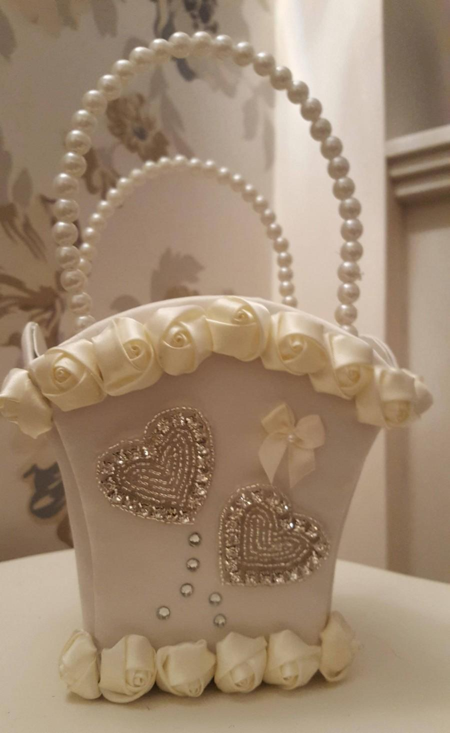Wedding - IVORY Satin Roses, Bow and Rhinestone Hearts  Flower Girl Bridesmaid Basket