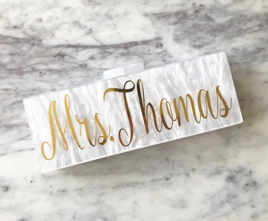 Свадьба - Acrylic Clutch, Box Clutch, Custom Bridesmaid Clutch, Bridal Clutch, Custom Name Clutch, Name Purse, Acrylic Purse, Bridesmaid Clutch