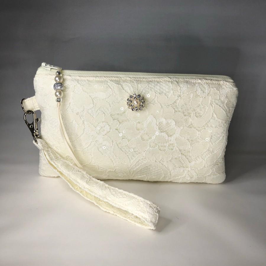 Wedding - Bridal Ivory Lace & Sequin Wristlet, Purse, Clutch for Bride, Bridesmaid, Evening Formal