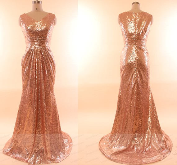 97d3587abf75 Rose Gold Sequin Prom Dresses,Sequin Bridesmaid Dresses,Modest Bridesmaid  Dress,Mermaid Bridesmaid Dress,Bridesmaid Dress Gold,Prom Dress
