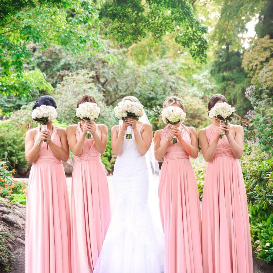 Wedding - TDY Blush Maxi Bridesmaid Convertible Dress Infinity Dress Multiway Dress Wrap Dress Long Ball Gown Floor Length Dress Maid of Honour Dress