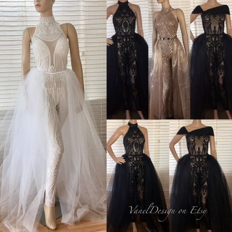 Jumpsuit Wedding Dress Bodysuit Detachable Skirt Formal Bridesmaid Sequins Leggings Blush Lace Reception Long Tulle Skir