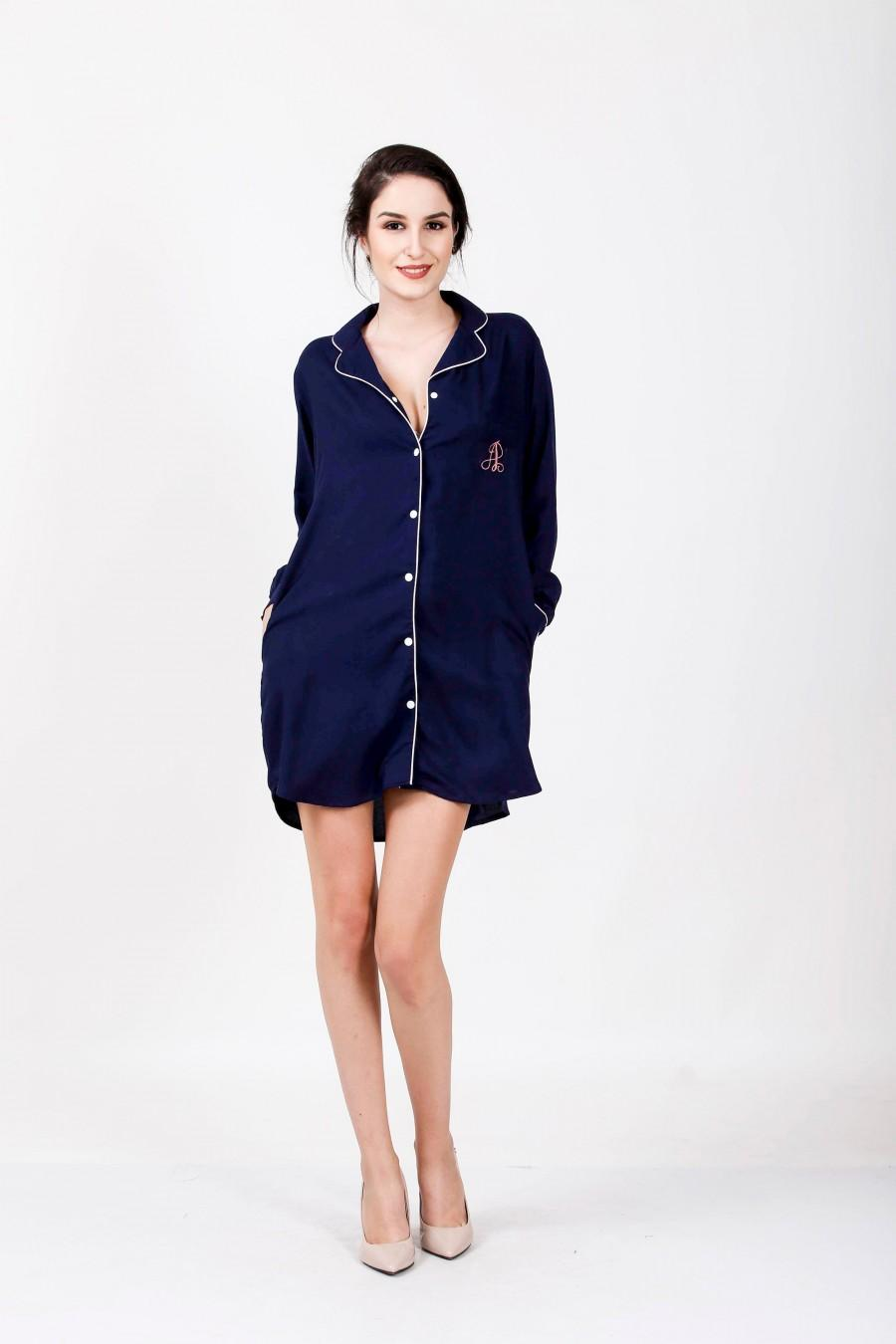 Mariage - NAVY Blue Boyfriend shirt, Sleep shirt Women, Cotton Nightwear, Loose Sleepwear, Lounge Cloth, Casual wear, beach wear