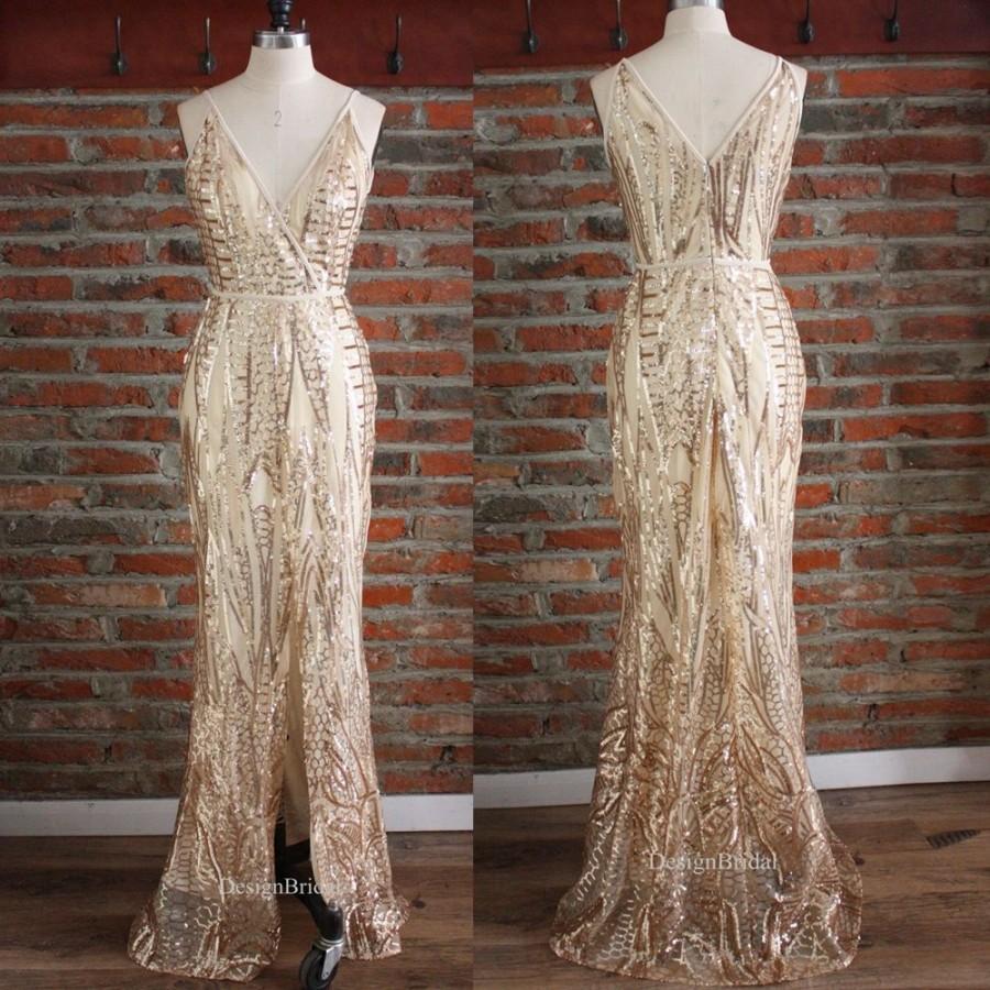 زفاف - Champagne Wedding Dress,Sequined Bridesmaid Dress,Formal Dress for Women, Spaghetti Strap Dress,Dresses with Slits