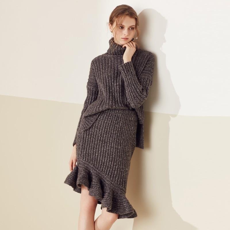 Wedding - Oversized Split Asymmetrical Mermaid High Neck High Low Outfit Skirt Sweater - Bonny YZOZO Boutique Store