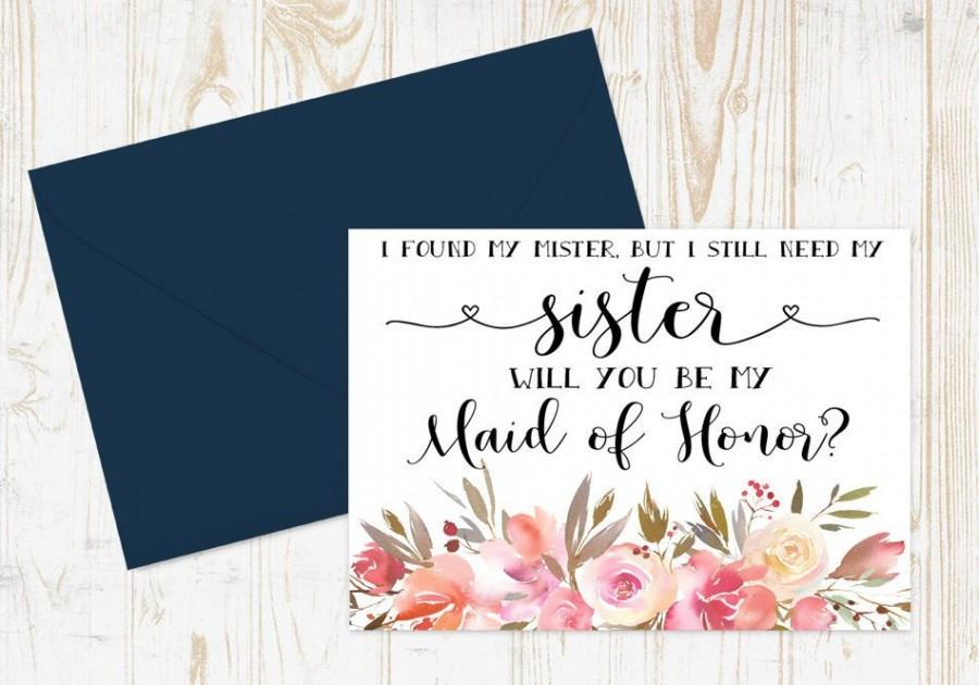 Mariage - I found my mister but I still need my sister Maid of Honor Card - Bridesmaid proposal - Maid of Honor, Matron of Honor, Proposal Card