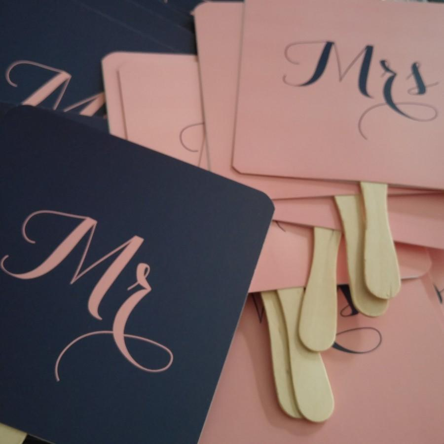 Hochzeit - Mr and or Mrs Wedding Day Game Paddle Fan Navy Blue/ Dusky Pink Fun Wedding Photo  Props