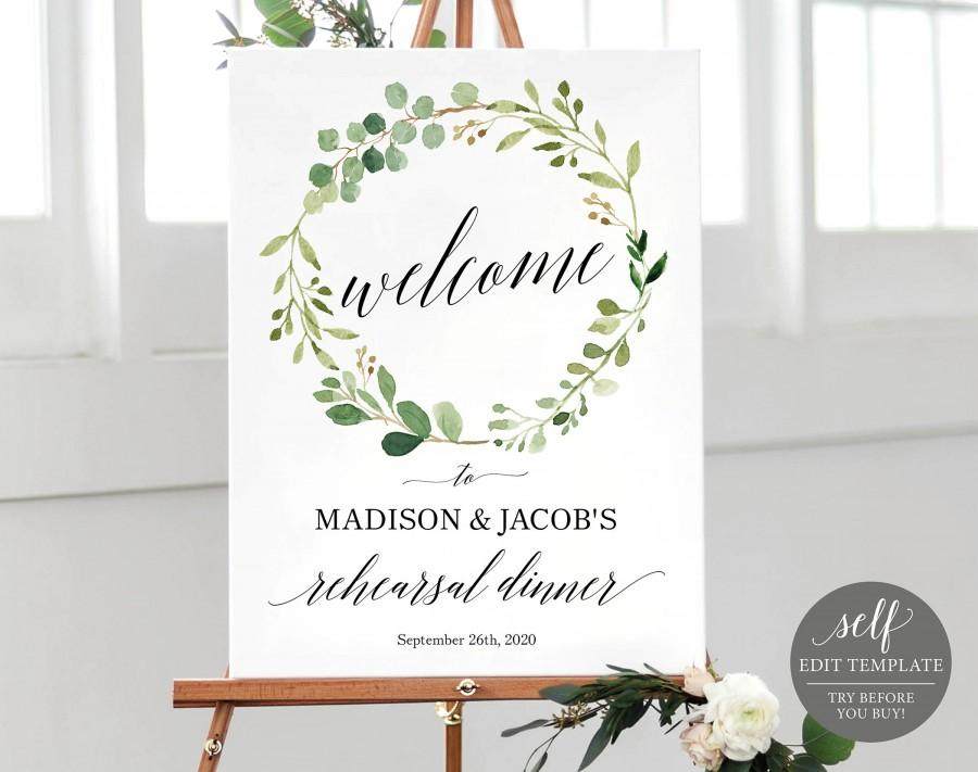 Greenery Rehearsal Dinner Welcome Sign Template, Printable