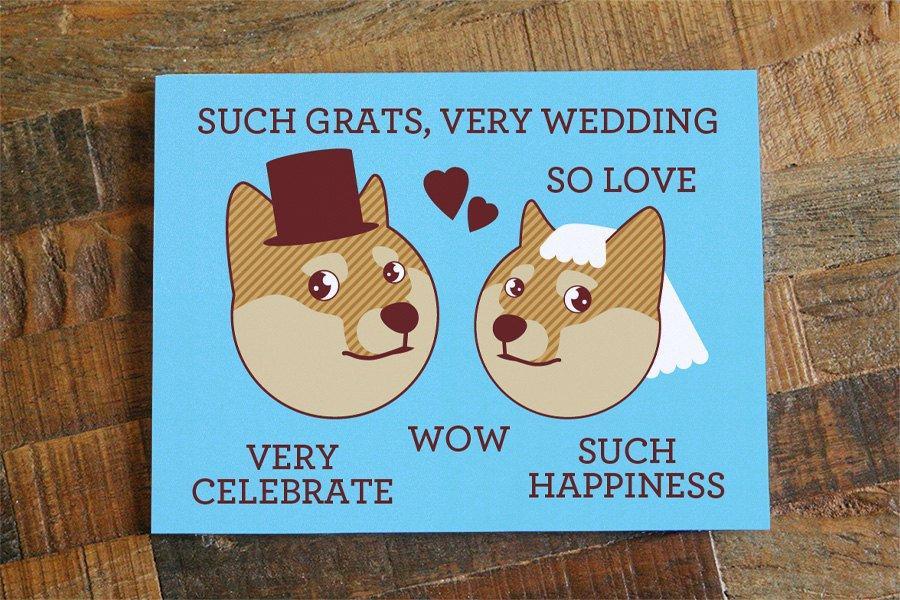 "Wedding - Funny Wedding Card Doge ""Such Grats, Very Wedding"" - Funny Card, Internet Meme, Humorous Card, Shibe Congratulations, geeky nerd marriage"