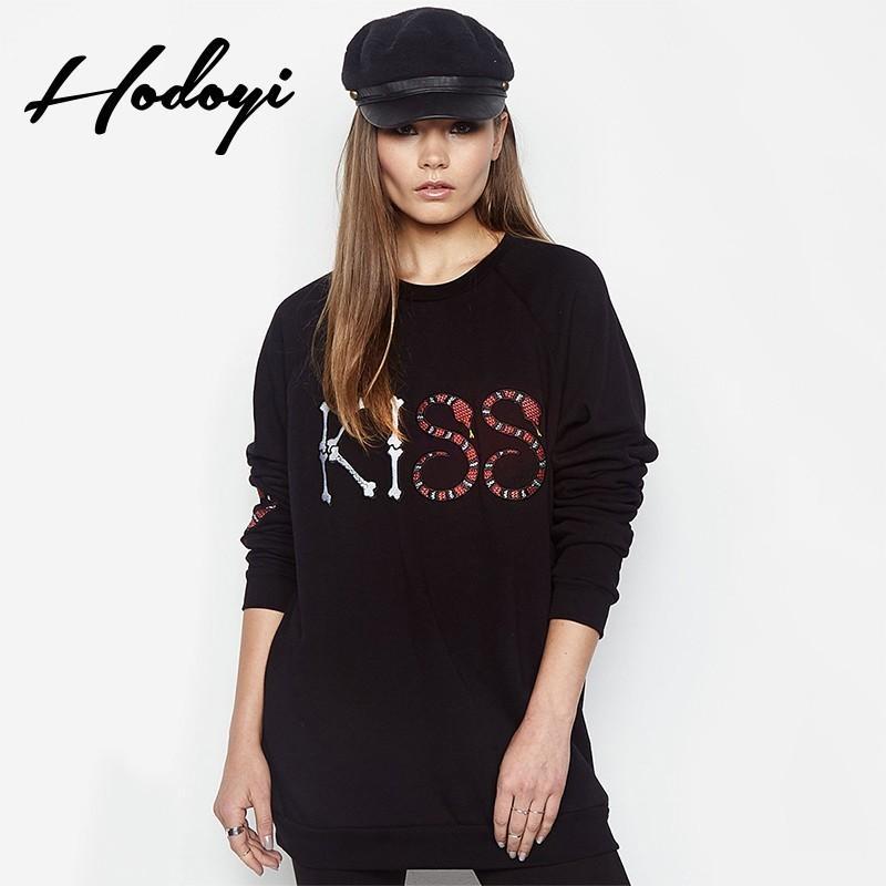 زفاف - Street Style Oversized Vogue Printed Solid Color Scoop Neck Alphabet Fall 9/10 Sleeves Hoodie - Bonny YZOZO Boutique Store