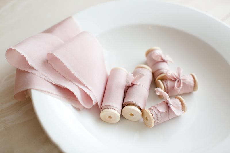 Свадьба - Silk ribbon, hand-dyed, Plant-dyed blush 100% pure silk habotai ribbon