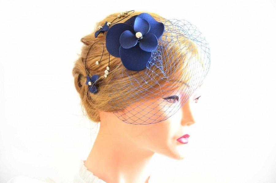 Свадьба - Navy blue birdcage veil with fascinator Birdcage veil in navy blue  Bridal veil clip Wedding fascinator Wedding hair accessories Hair pin