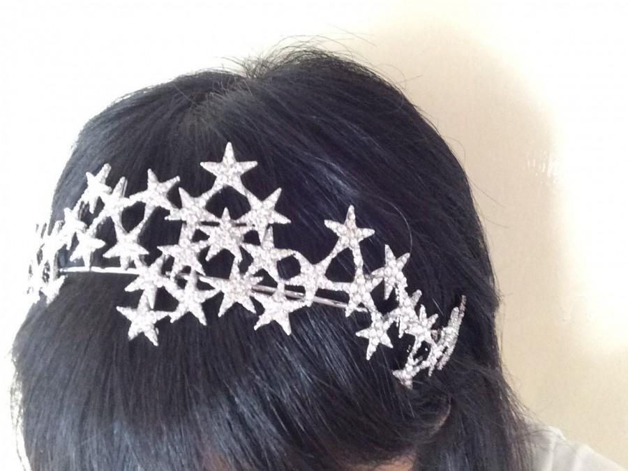Свадьба - Sparkle stars wedding bridal jewelry headband Swarovski rhinestone crystals hair comb tiara, stars headpiece, rhinestones headband, princess