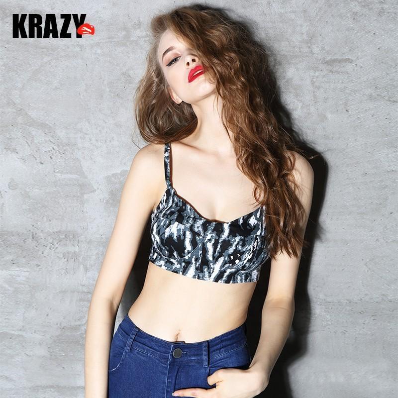 زفاف - Mix&Match Printed Cotton Sleeveless Top Strappy Top Bra - Bonny YZOZO Boutique Store