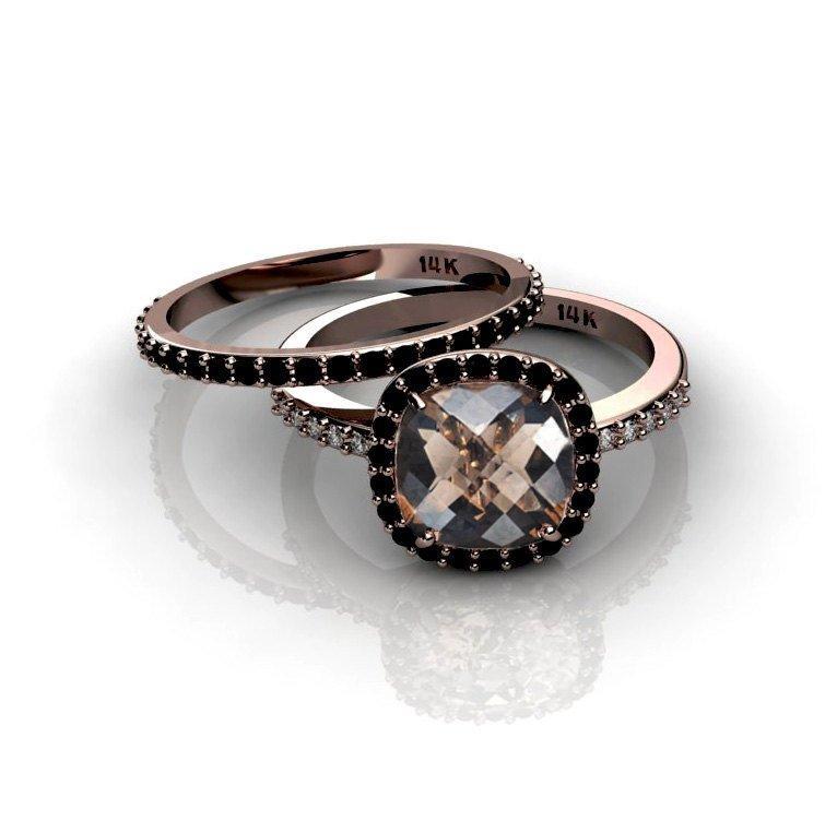 Wedding - Cushion Cut 14K Rose Gold Ring Smoky Quartz Black Diamonds Halo Champagne Diamonds Engagement Ring Bridal Wedding Ring Promise Ring
