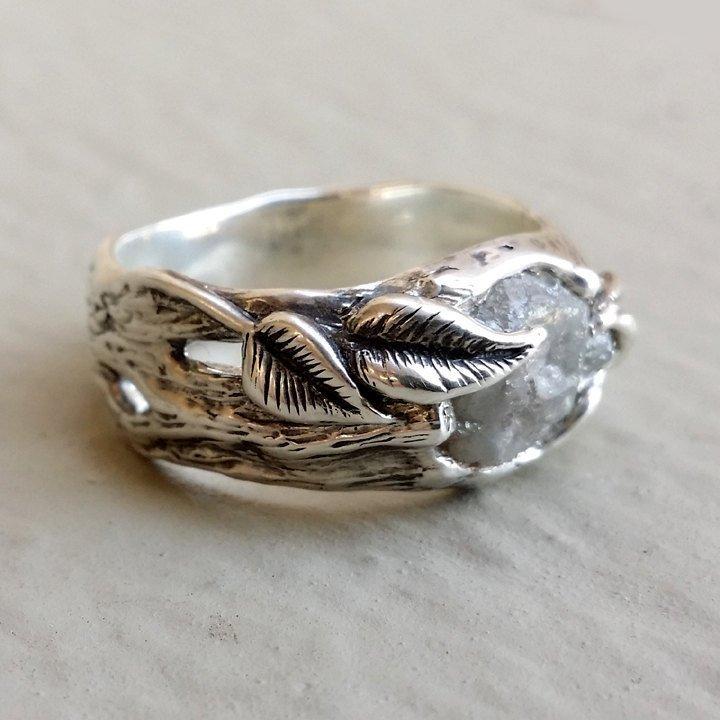 Свадьба - Twig and Leaf Engagement Ring, Mens Wedding Band, Raw Rough Uncut Diamond, One of a kind hand sculpted Twig Wedding Band, Custom Jewelry