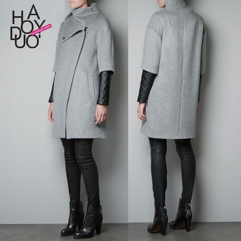 Mariage - Asymmetrical diagonal zipper placket high collar coat with quilted leather sleeves double grey wool trench coat - Bonny YZOZO Boutique Store