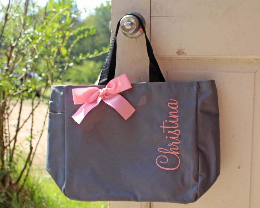 Свадьба - 10 Personalized Bridesmaid Tote Bags Monogrammed Tote, Bridesmaids Tote, Personalized Tote, Embroidered Bag