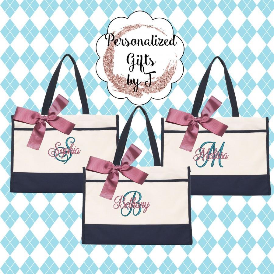 Hochzeit - 6 Bridesmaid Gifts Monogrammed Tote Bag Monogrammed Tote, Bridesmaid Tote, Personalized Tote Wedding