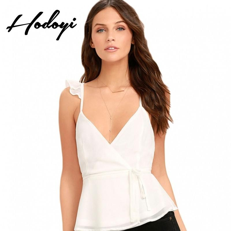 Wedding - Vogue Sexy Sweet Open Back V-neck Accessories One Color Summer Tie Frilled Blouse - Bonny YZOZO Boutique Store