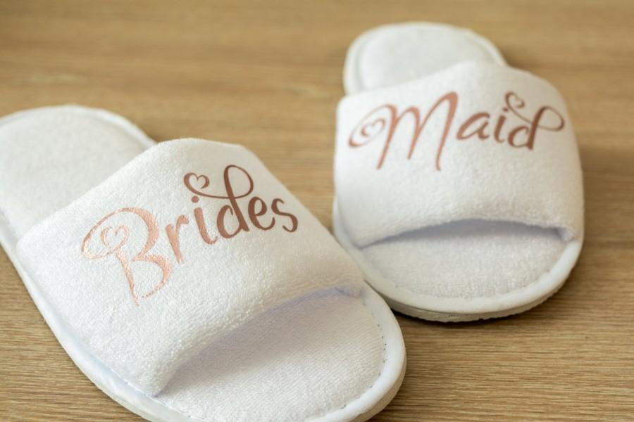 abd69a7e5059 Bridesmaid Slippers Personalised Wedding Slippers Bride