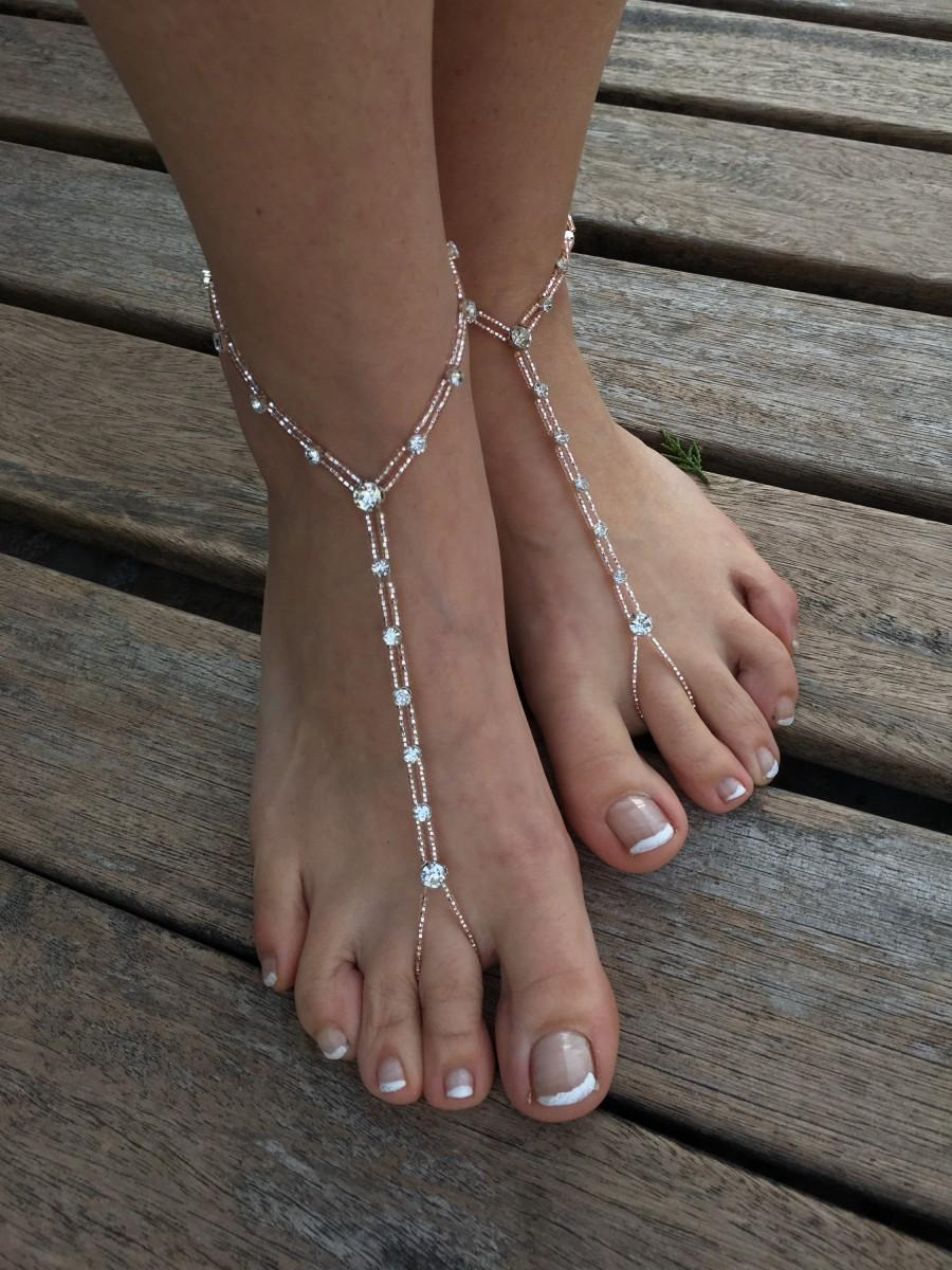 Hochzeit - Big Rhinestone rose gold barefoot sandals..beach wedding barefoot sandals..yoga carnival accessories..foot jewelry..bridesmaid barefoot sand