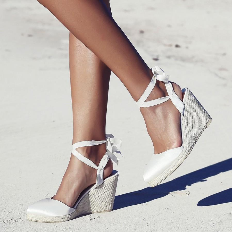 Bridal Espadrille Wedge Ivory And Satin Designer Bridal Shoe