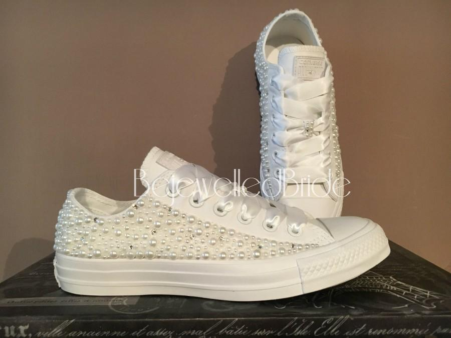 Gorgeous White Wedding Converse With Pearl And Swarovksi Crystal ... 9e42923dd