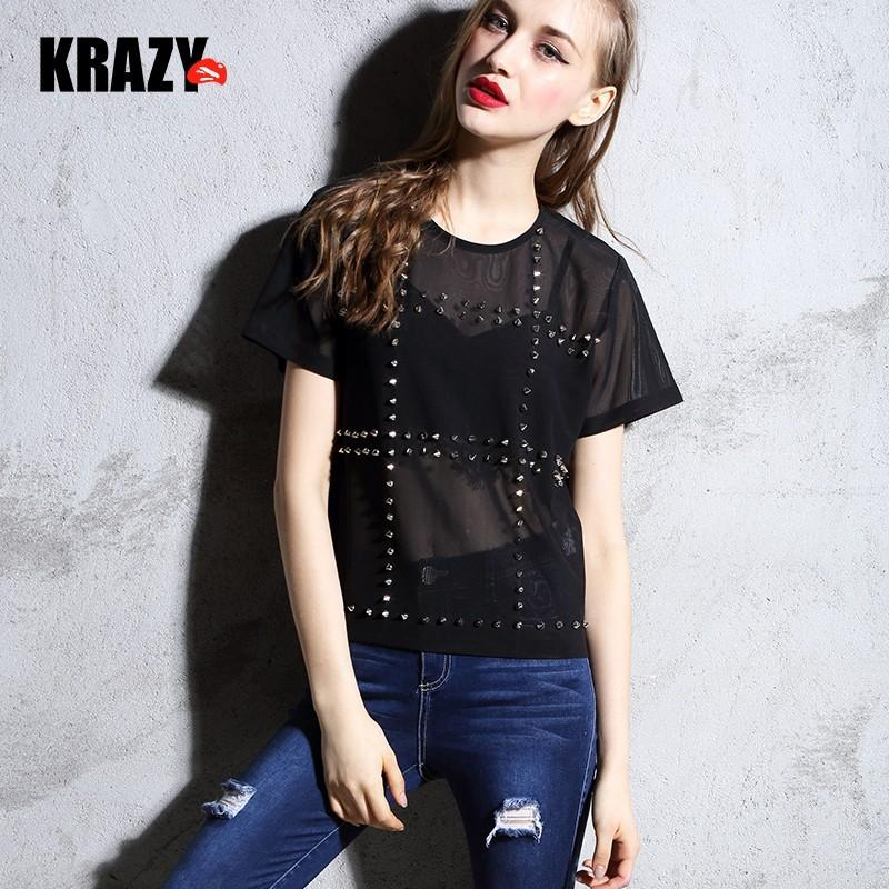 Wedding - Rivet exquisite rock style rivet embellished comfort mesh cloth short sleeve t-7605 - Bonny YZOZO Boutique Store