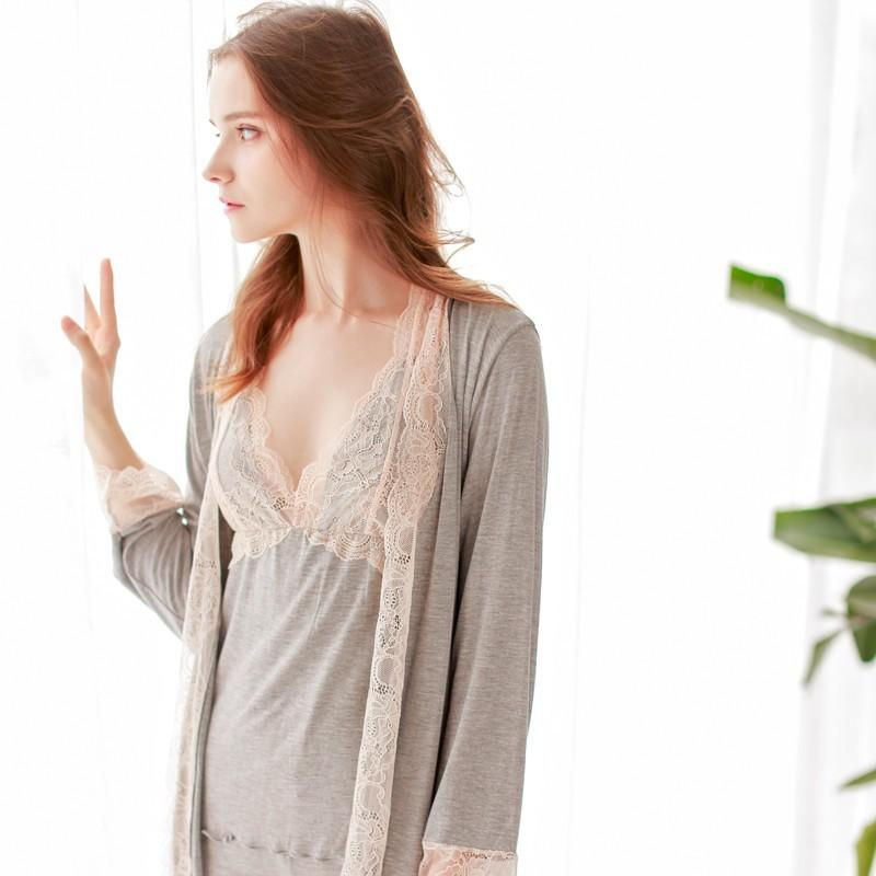 Hochzeit - F-011 grey mist sweet Pajama set sexy Nightgown with long sleeves fall of three-set - Bonny YZOZO Boutique Store