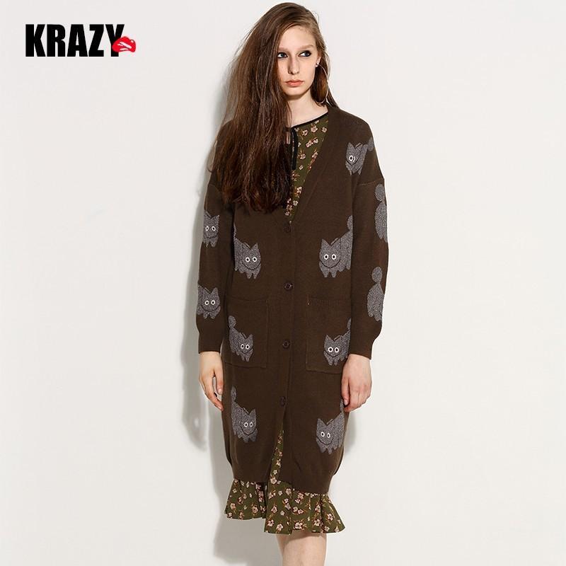 Wedding - Oversized Printed V-neck Jersey Cat Casual Cardigan Sweater Coat - Bonny YZOZO Boutique Store