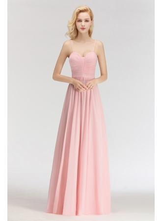 Mariage - Sexy Brautjungfernkleider Chiffon Lang Rosa Etuikleider Für Hochzeit Modellnummer: BM0046