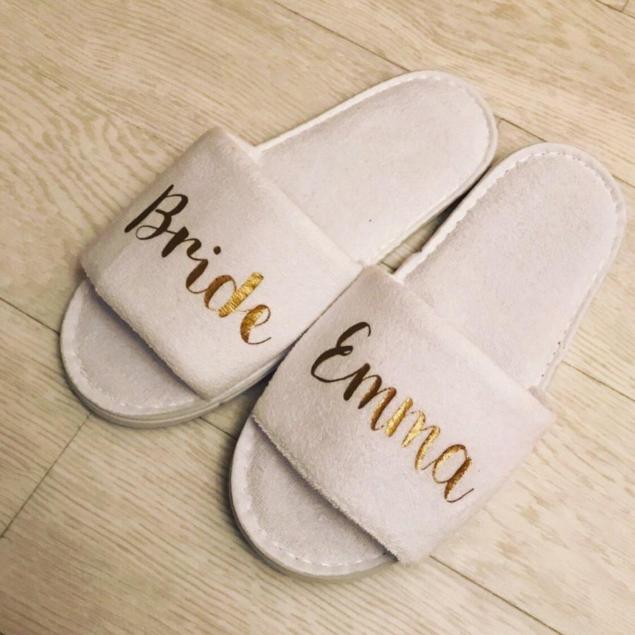 Mariage - Bride Slippers, Personalised, Bridal, wedding, open toe, hen do, wedding party, bridesmaid, mother of the bride groom, spa, towelling