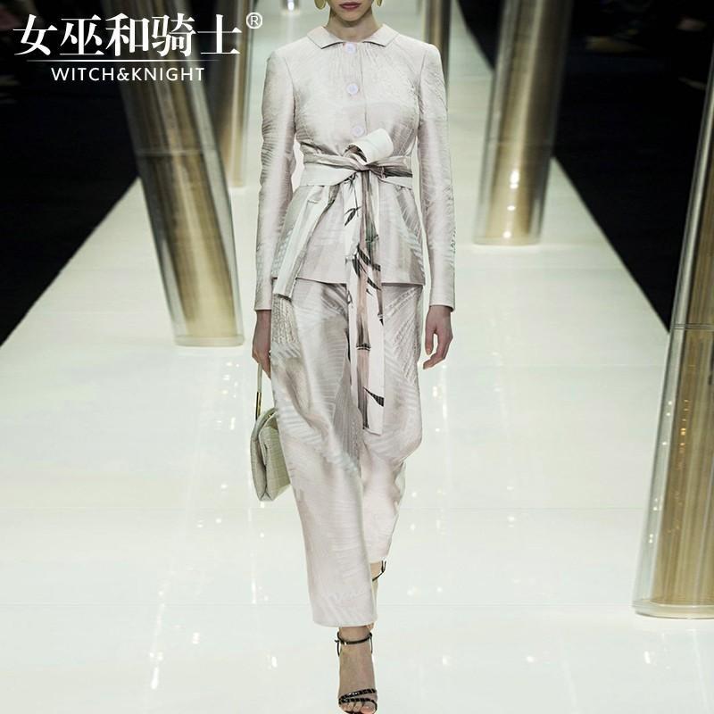 Свадьба - 2017 autumn slim new high-end fashion printing shirt suit trousers women's two-piece - Bonny YZOZO Boutique Store