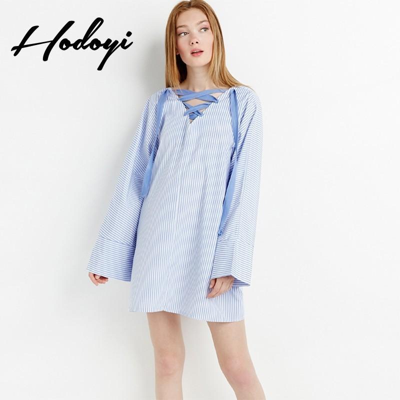 Wedding - Fall 2017 ladies striped long shirt dress in plus size long sleeve loose shirt dress - Bonny YZOZO Boutique Store