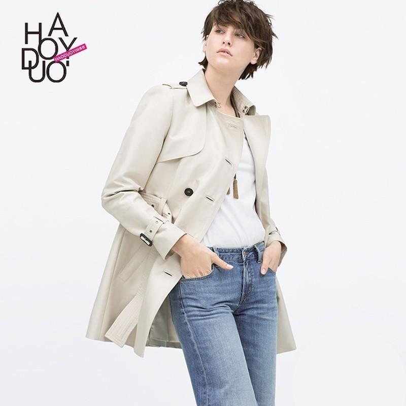 Свадьба - 2017 spring new retro stitching epaulette double-breasted belt slim trench coat - Bonny YZOZO Boutique Store