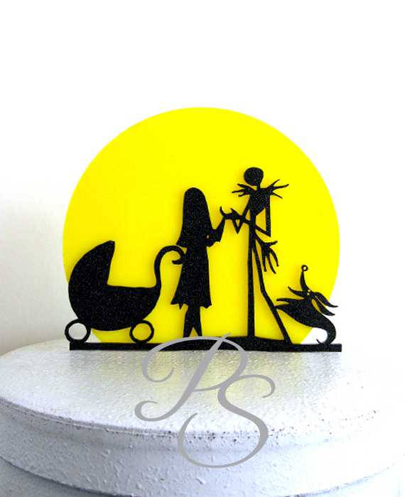 Mariage - Wedding Cake Topper, Baby Shower Cake Topper -The Nightmare Before Christmas Jack and Sally silhouette with a yellow moon