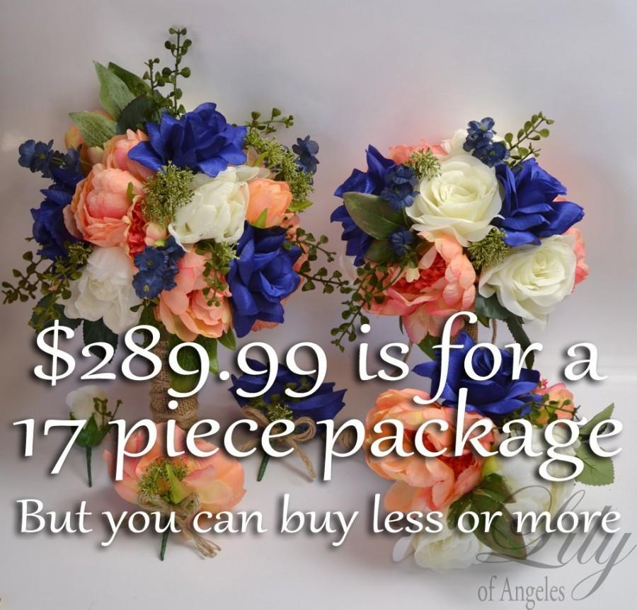 Hochzeit - Wedding Bouquets, Bridal Bouquets, Silk Flower Bouquet, Wedding Flowers, Silk Bouquet, 17 Piece Set, Coral, Dark Blue, Navy, Lily of Angeles