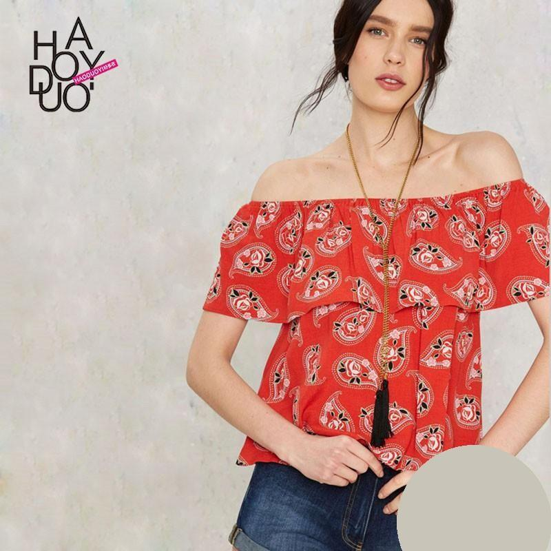 Wedding - 2017 summer dress new Vogue boat neck Strapless floral print loose shirt - Bonny YZOZO Boutique Store