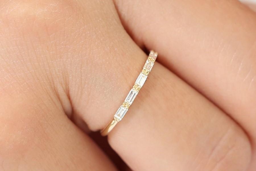 Mariage - 14k Gold Diamond Wedding Ring / 14k Gold Half Eternity Baguette Diamond Wedding Ring / Diamond Stacking Ring / Rose Gold Ring