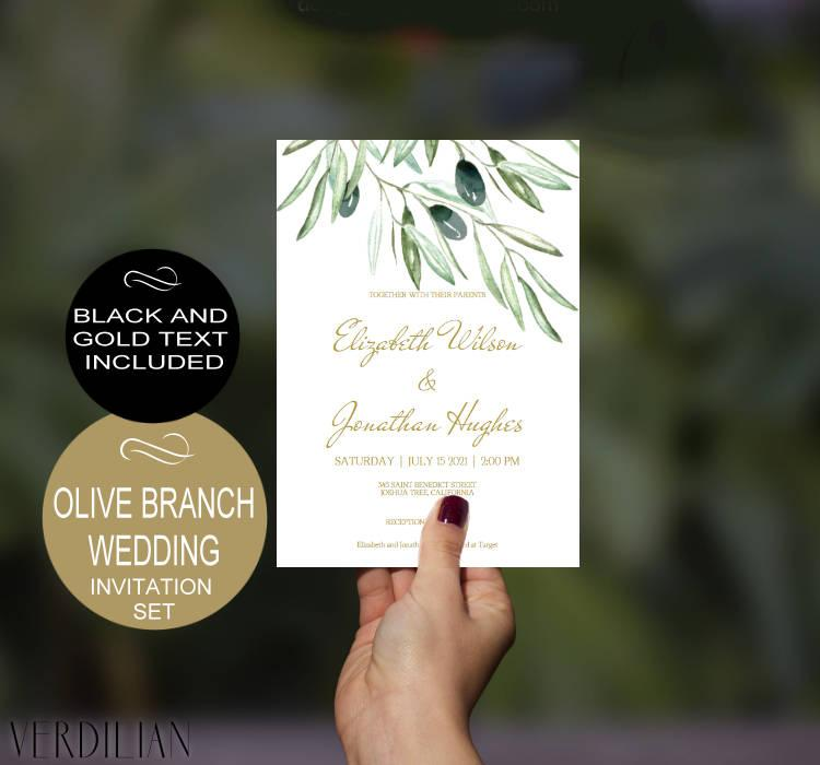 Hochzeit - Olive Branch Wedding Invitation Template - Gold - Rustic Watercolor-DIY Printable Wedding Invitation-PDF-Instant Download
