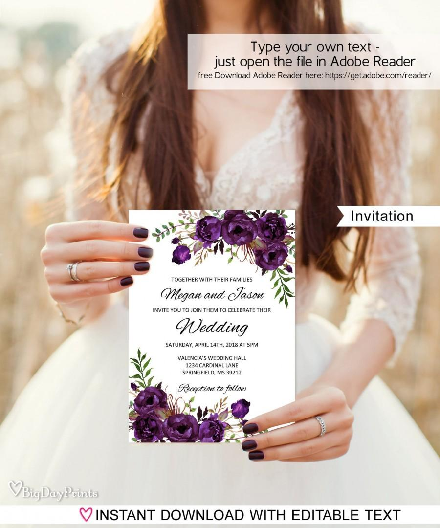 Mariage - Eggplant Wedding Invitation Template, Boho Chic Wedding Invitation,  #A039, Instant Download, Editable PDF