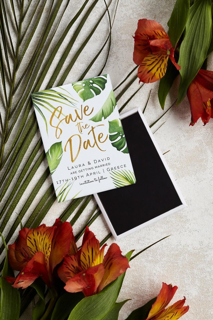 زفاف - Destination Wedding Save the Date Magnet - Tropical Palm Leaves