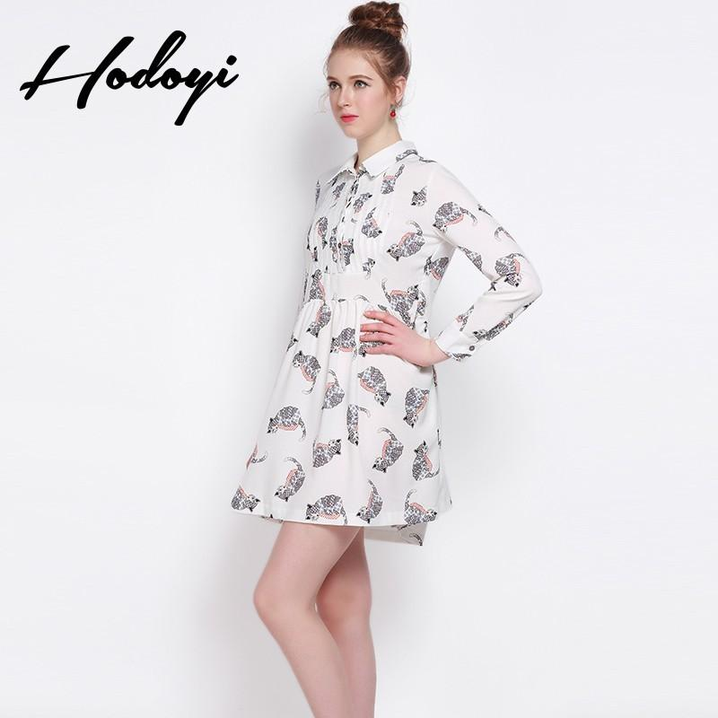 Свадьба - 2017 summer school of new sweet cat print shirt style skirt drape long sleeve dress - Bonny YZOZO Boutique Store